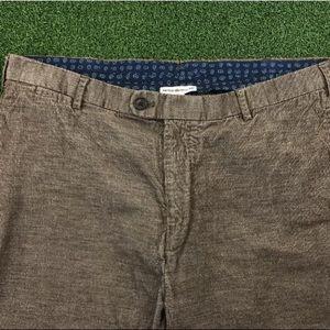 Peter Millar Pants - Peter Millar Mens Brown Corduroy Slim Straight